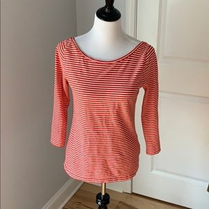 J Crew nautical boat neck 3/4 length sleeve top